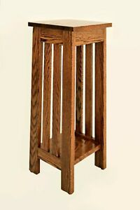 Stand-Plant-Lamp-Nightstand-End-Table-Amish-Wood-Oak-Handmade-Large