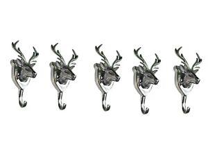 Metal-Deer-Head-Coat-Hook-Lot-of-5-Wall-Mount-Stag-Figurine-fx
