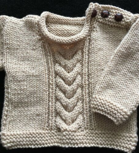 HAND KNITTED Baby Aran Jumper Pullover Jersey Made to Order Various Sizes