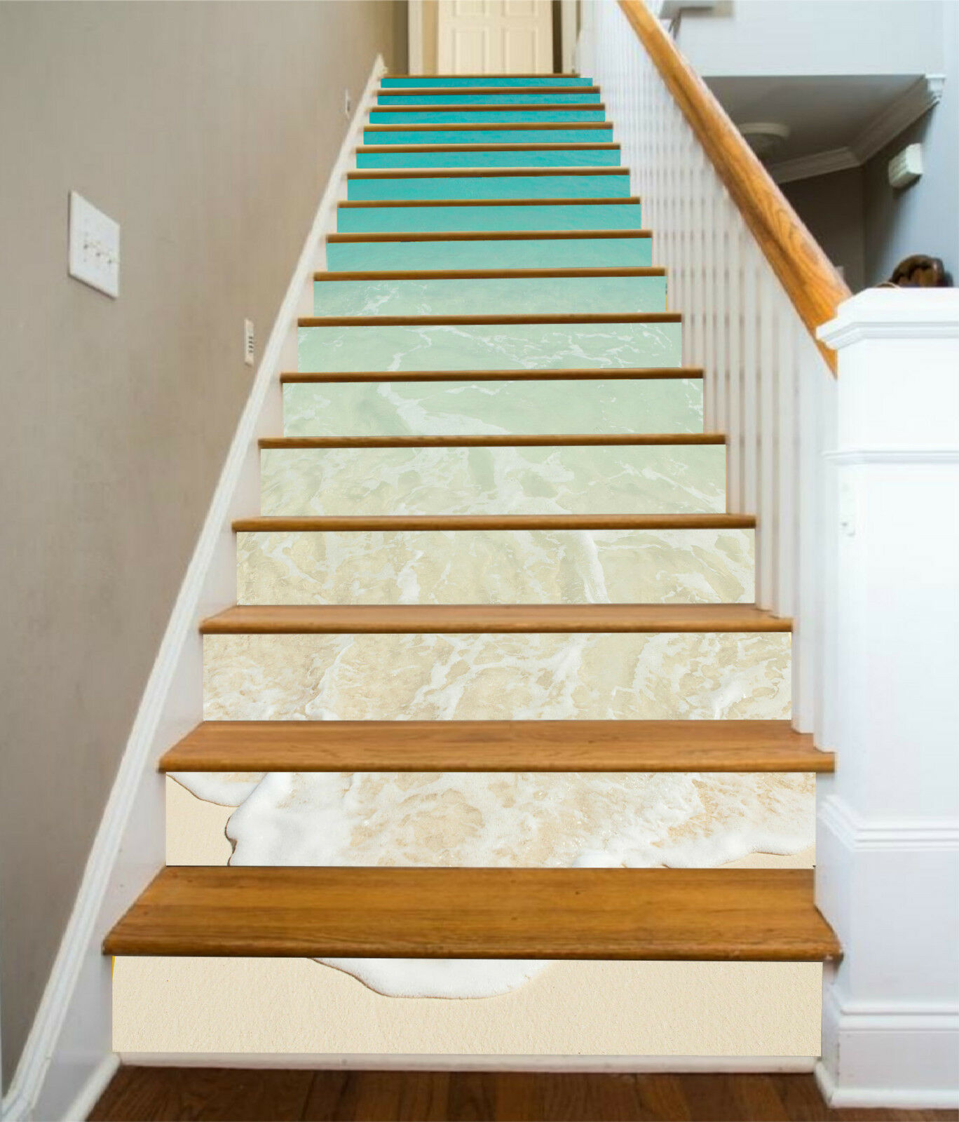 3D Ruhiges Meer 029 Stair Risers Dekoration Fototapete Vinyl Aufkleber Tapete DE