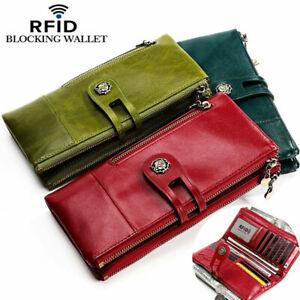 Women-039-s-Genuine-Leather-Long-Clutch-Wallet-RFID-Blocking-ID-Card-Holder-Vintage