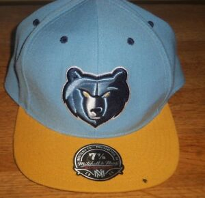 promo code 9ee5c b807b Image is loading Mitchell-amp-Ness-Memphis-Grizzlies-Logo-Snapback-Cap-
