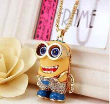 3D eyes Betsey Johnson full crystal Cute golden cartoon Minions pendant Necklace