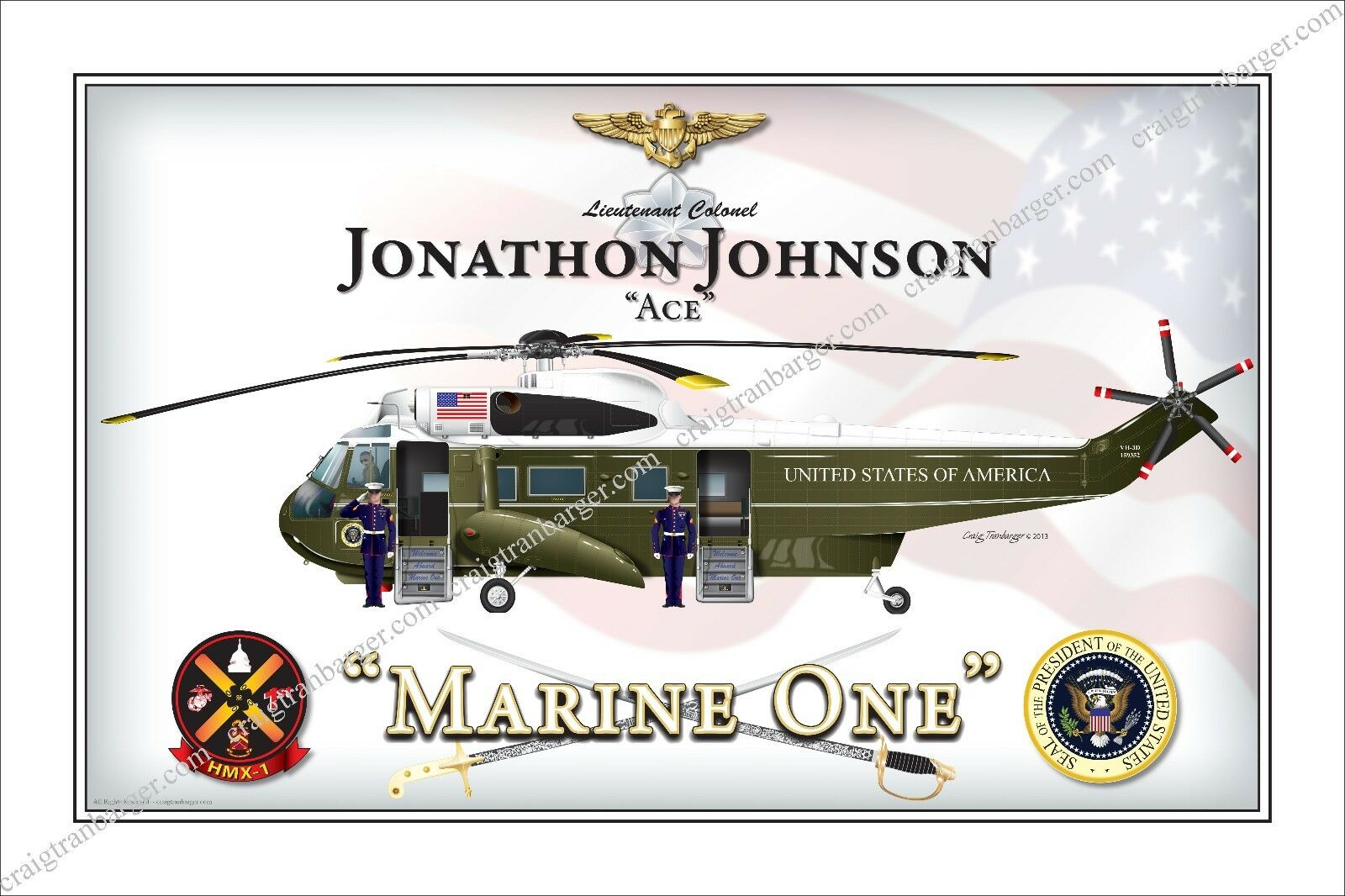 1//72 Sea King SH-3h US President Helicopter Marine One Model Water Slide Decal