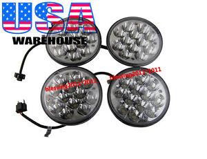 "5-3//4/"" LED Cree Light Bulbs Crystal Clear Sealed Beam Headlight Lamp 12V 2 Pairs"