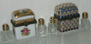 2-Parfuemflakon-Deckeldose-Porzellandose-Miniatur-Dose-Glasflakon-Antik-Stil-5x3