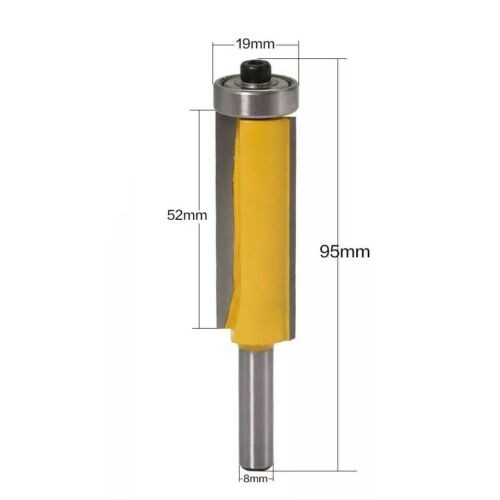 Extra Long 8mm Router Bit with Bearing 52mm Cut Fresa Larga con Rodamiento