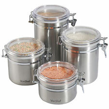 VonShef Set of 4 Food Storage Canisters Stainless Steel with Clip Air Tight Lids