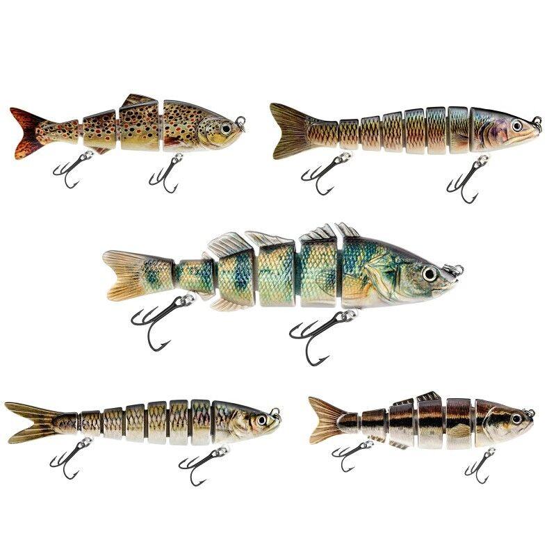 5 x Wobbler Fisch Angel Kunst Köder Set Jerkbait Raubfischen Spinner Forelle