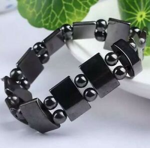 Cool-Black-Magnetic-Hematite-Bracelet-Therapy-Healthy-men-039-s-women-039-s-bangle