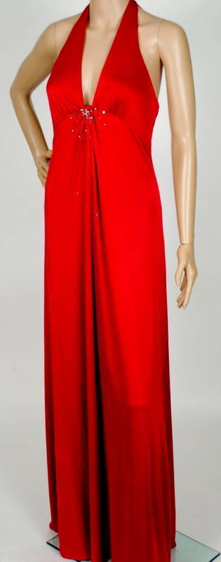 348 NEW BCBG NEW RED JEWELED HALTER GOWN DRESS XS