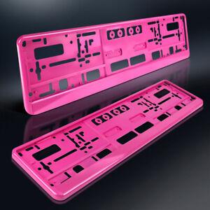 2-Kennzeichenhalter-THINK-PINK-Kennzeichen-Nummernschildhalter-ROSA