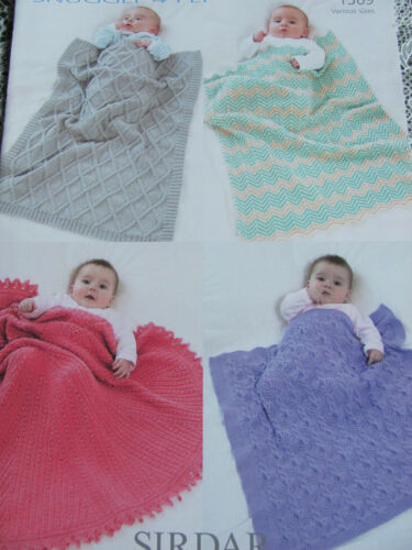 Sirdar Snuggly 4ply Knitting Pattern 1369 Baby Blankets Circular