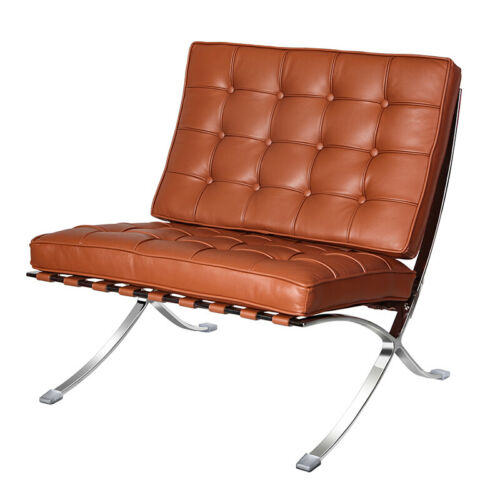 Foldable modern Genuine Leather Lounge Chair Fit for Barcelona Style Chair tan