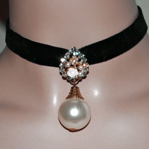 Gothic Collier Kropfband Schwarz Samtband Halsband große Perle Blumen Straß Rose