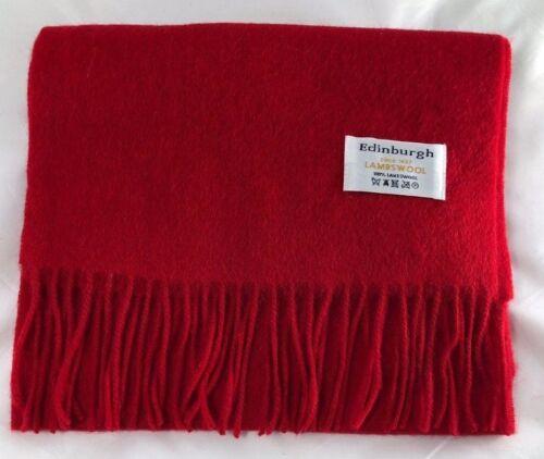 Edinburgh 100/% Lambswool Luxury Scottish Tartan Scarf Red Rouge