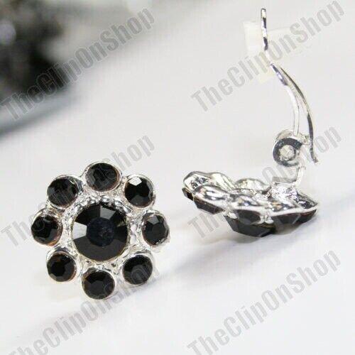 No Perforado austríaco Cristal Flor 1.5cm pendientes clip en los clips de tono plata