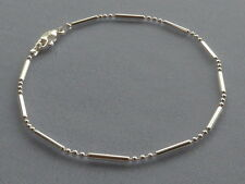 "10 1/2""  STERLING SILVER ANKLE BRACELET- BAR + 3 ROUND BEADS - ITALY 925"