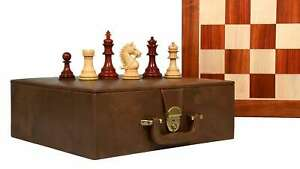"""Chess Pieces in Bud Rose/Box Wood-4.2"""" King with Wooden chess Board& Storage BOX"""