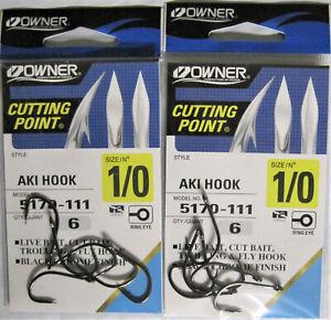 Two 2 packs of Owner Fishing 5170-121 Black Aki Fish Hooks Size 2//0