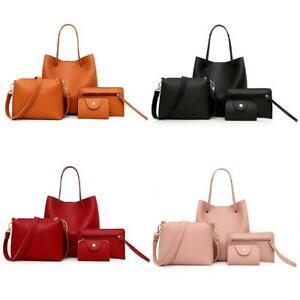 4pcs-Damen-Mode-PU-Leder-Handtasche-Schultertasche-Handtasche-Card-Holder-Set