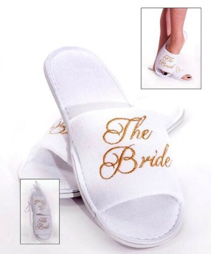White BRIDE TO BE Spa Slippers for the Bride to Be GOLD Embroidery Hen Party