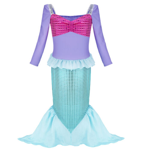 Mermaid Princess Dress Girl Kid Cosplay Party Xmas Fancy Costume Clothes Outfits
