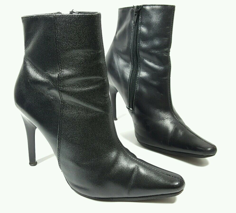 Schuh womens black leather heeled ankle boots UK 4