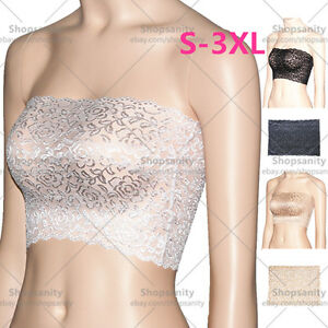 d57faeb59c65c Image is loading Plus-Size-Floral-Lace-Unlined-Stretchy-Strapless-Bandeau-