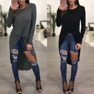 ZANZEA-Women-Crew-Neck-Long-Sleeve-Tops-Oversize-Baggy-Irregular-Shirt-Blouse-US