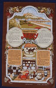 Vintage-Retro-Souvenir-Unused-COTTON-Tea-Towel-JERSEY-Traditional-Recipes-Brown