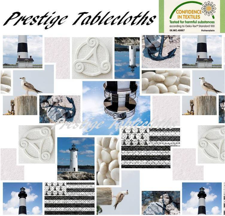 Bird Lighthouse Pebble PVC Vinyl Wipe Clean Tablecloth - ALL SIZES  Code  F212-1