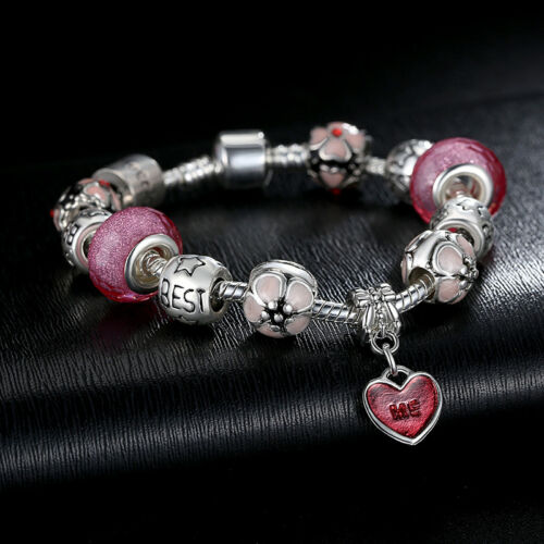 VOROCO The Best One Silver Chain Charm Bead Fit Bracelet With Love Pendant Heart