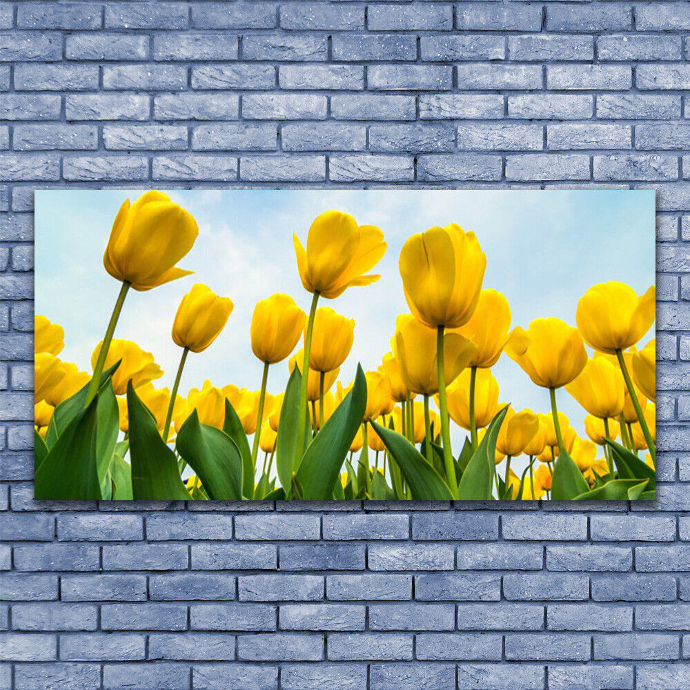 Print on Glass Wall Wall Wall art 140x70 Picture Image Tulips Floral 6ef1e5