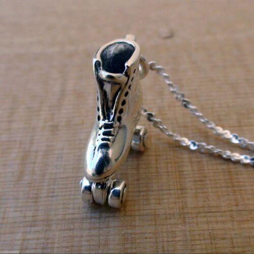 925 Sterling Silver Roller Skate Charm Necklace Rink Skating Skater Retro NEW