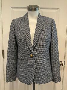 "J. Crew Dark Blue & White Herringbone ""Campbell"" Wool Blend Blazer, Size 10P"