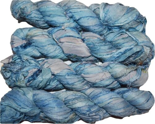 jewelry making Blue sky Free s/&h 100g Sari Silk Ribbon craft ribbon yarn