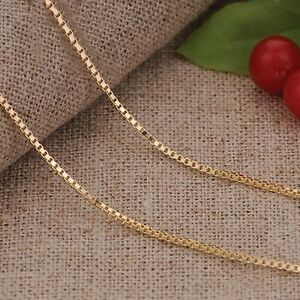 New-Pure-18K-Yellow-Gold-Necklace-Fashion-Men-amp-Women-Elegant-Box-Link-Chain