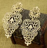 Fashion Elegant Golden Alloy Hollow Out Flower Pattern Dangle Ear Stud Earring