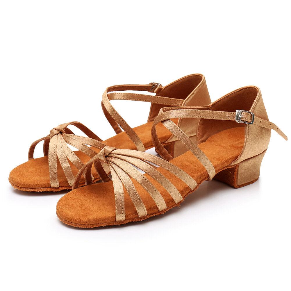Latin Tango Dance Shoes Women Girls Child Ballroom Heeled Salsa Dancing Shoes