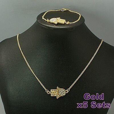 5x Hamsa Hand Necklace and Bracelet Jewellery Sets,Gold,Silver,Wholesale,Job Lot