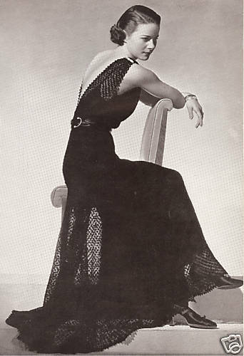 Vintage Knitting Pattern To Make Lace Evening Gown Dress Formal