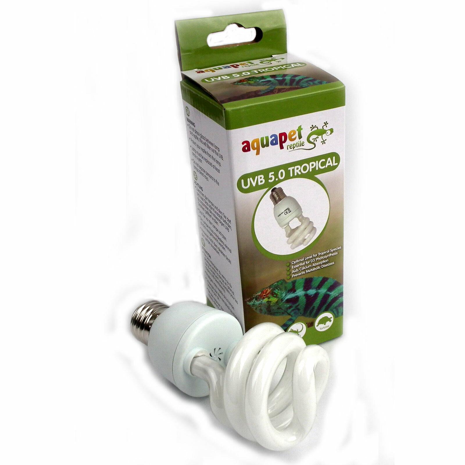 RETTILE compatte fluorescenti UV UVA + UVB + Tropicale 5.0 15W pacco da 2 o 4