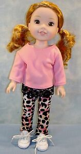 14 Inch Doll Clothes - Coral Top Leopard Leggings handmade by Jane Ellen