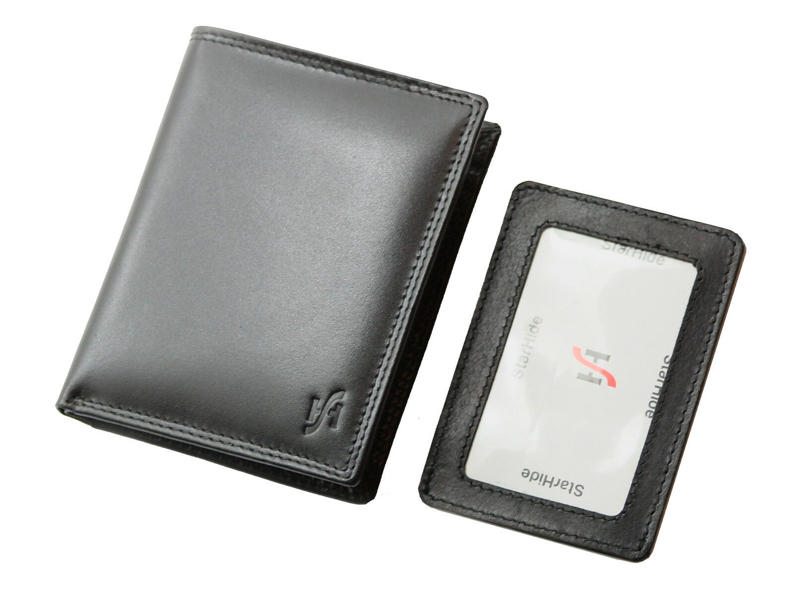 Mens RFID Soft Leather Wallet With Removable ID Card Case Black
