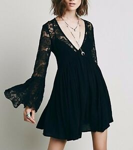173220-NEW-Free-People-With-Love-Dress-Floral-Embroidered-Bell-Sleeve-Tunic-S