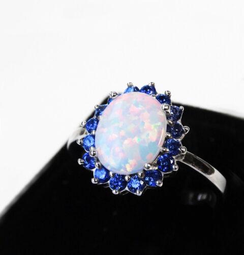 Plumeria Flower White Fire Opal Oval Blue Sapphire CZ Sterling Silver Ring