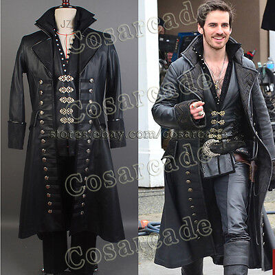 Once Upon A Time Killian Jones Captain Hook COSplay Costume Outfit Suit Uniform