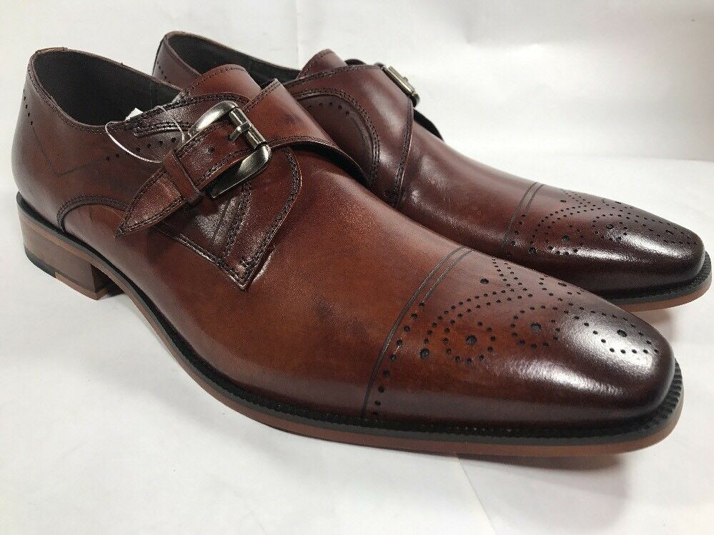 Stacy Adams Kimball Mens shoes Chestnut Buffalo leather Wingtip oxford 25110-205