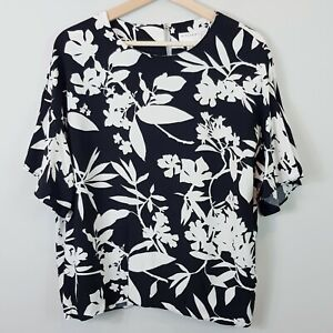 WITCHERY-Womens-Black-amp-White-Floral-Blouse-Top-Size-AU-14-or-US-10